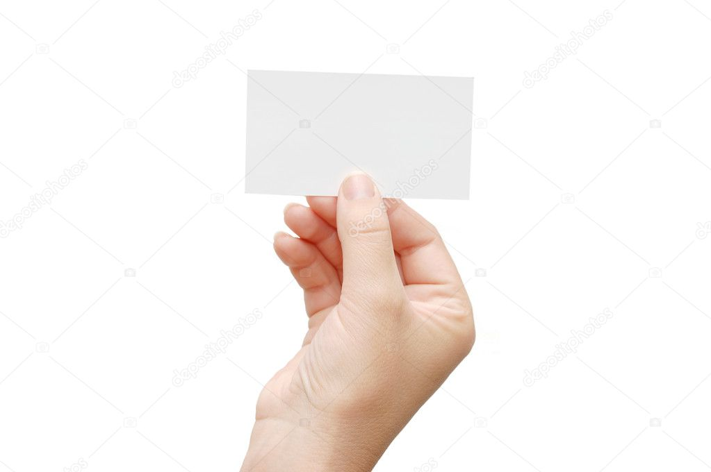 Presenting a Business Card in woman hand isolated on white background — Foto Stock #1383070