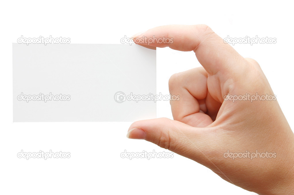 Paper card in woman hand isolated on white background  Stock Photo #1383106
