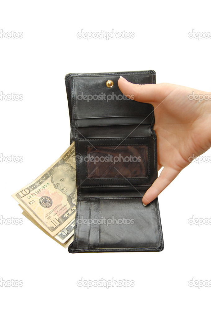 Black wallet with money and hand — Stock Photo #1383203