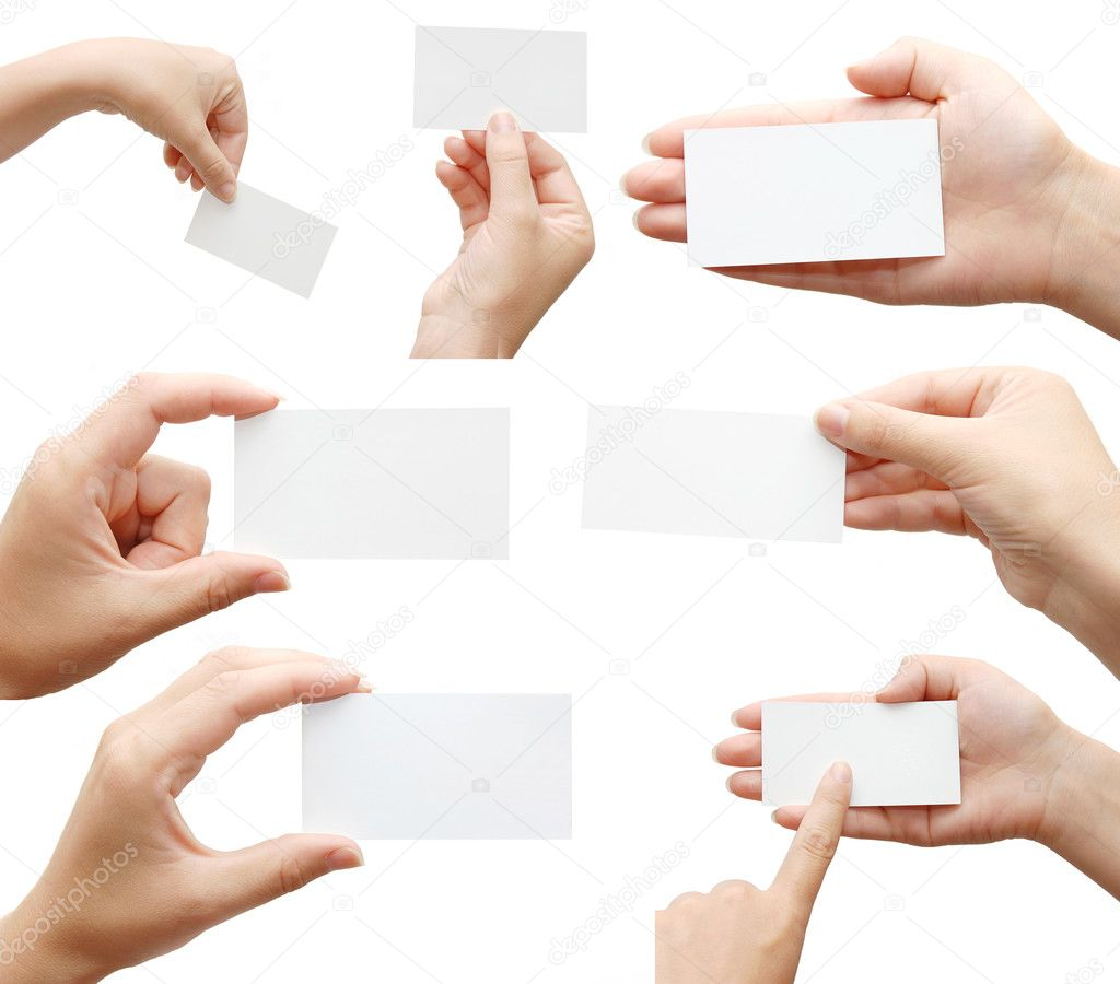Set of hand holding an empty business card over white — Stock Photo #1383214