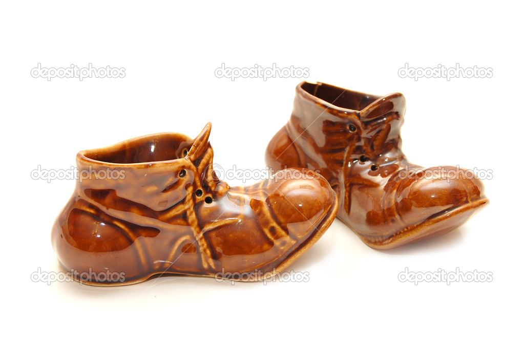 Souvenir - ceramic Shoes on a white background  Stock Photo #1386224