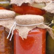 Glass jars with tinned vegetables - Stock Photo
