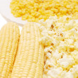 Fresh corn, preserved corn and popcorn - Stock Photo