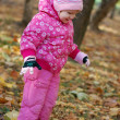 Little girl walks in autumn park — Stock Photo #1409012
