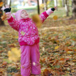 Little girl walks in autumn park - Stock Photo