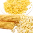 Stock Photo: Fresh corn, preserved corn and popcorn