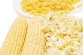 Fresh corn, preserved corn and popcorn — Stock Photo