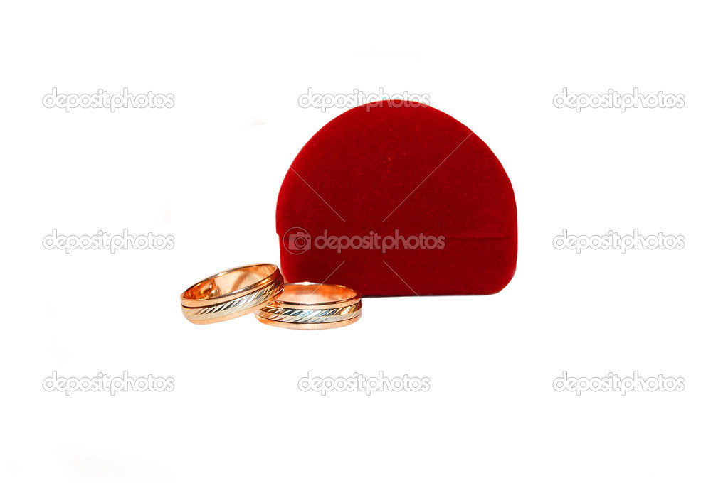 Two wedding rings and red pillow — Stock Photo #1436870