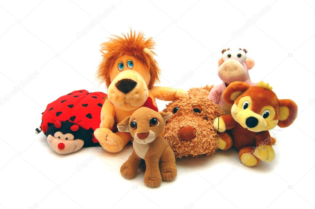 Different soft toys on a white background — Stock Photo #1437074
