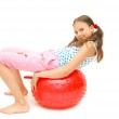Beautiful young girl with ball — Stock Photo