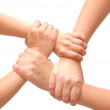 Image of crossed hands isolated white — Stock Photo