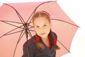 Cute Teenager Girl with a pink Umbrella — Stock Photo