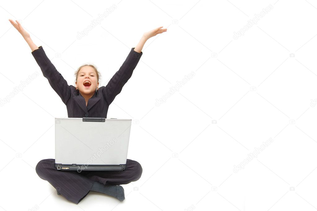 Casual success girl on a laptop - isolated over a white background — Stock Photo #1447919