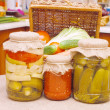 Glass jars with tinned vegetables — Stock Photo