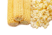 Very tasty fresh corn and popcorn — Stock Photo