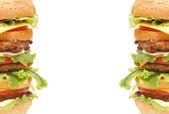 Double hamburger isolated — Stock Photo