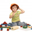 The little girl in a helmet isolated — Stock Photo
