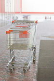 Two empty carts in a supermarket — Stock Photo