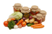 Fresh and tinned vegetables isolated — Stock Photo