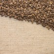 Brown coffee grains on sacking — Stock Photo #2471218
