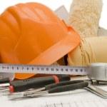 Orange helmet on the house project — Stock Photo