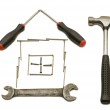 House from building tools — Stock Photo