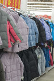 Winter jackets in a supermarket — Stock Photo
