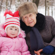 The little girl with the grandmother — Stock Photo