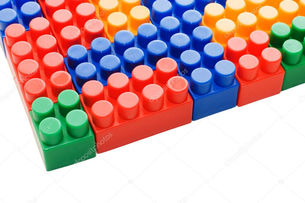 Multi-colored plastic blocks on white — Stock Photo #2490304