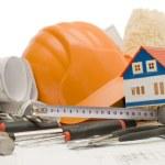 Orange helmet on the house project — Stock Photo #2531509