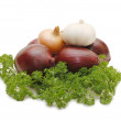 Red onions and parsley isolated on white - Stock Photo