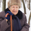 Portrait of the old woman in the winter — Stock Photo #2533755