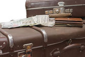 Money lays on an old suitcase — Stock Photo