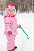 The little girl in the winter — Stock Photo