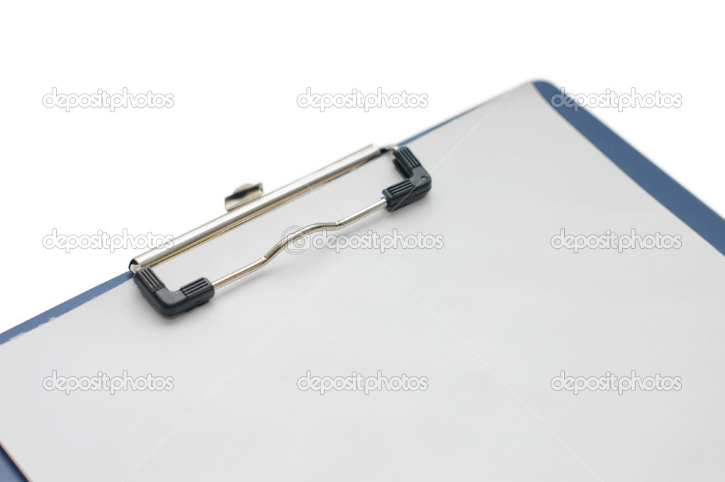 Clipboard with blank sheet isolated on white — Stock Photo #2530791