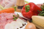 Fresh meat and different components — Stock Photo
