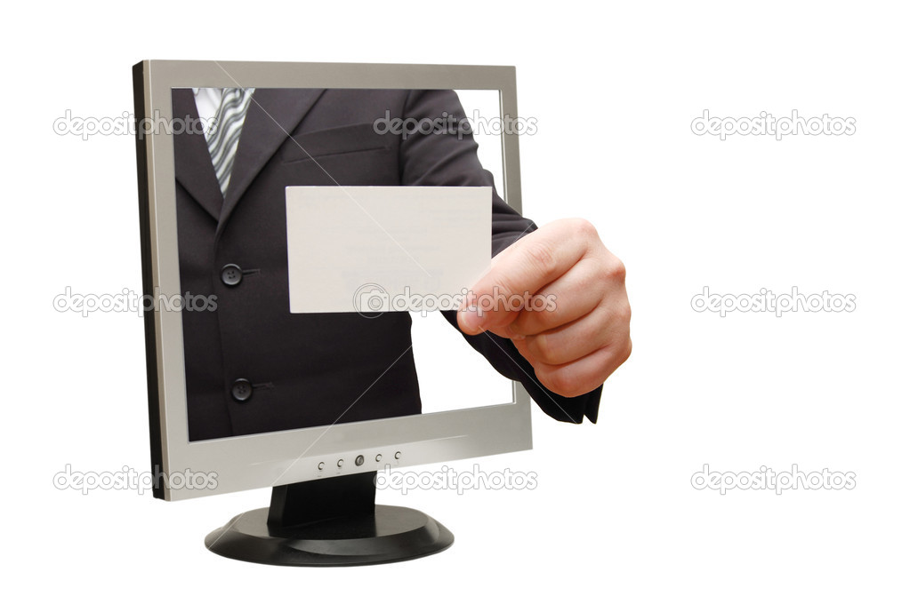 Computer flat screen monitor giving a card — Stock Photo #2545063