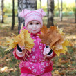 Little girl walks in autumn park — 图库照片