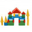 Building from wooden colourful childrens blocks — Stock Photo