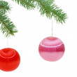 Christmas spheres on a fur-tree - Stock Photo