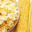 Fresh corn and popcorn — Stock Photo