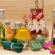 Stock Photo: Assortment spaccessories,candle,sponge