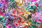 Christmas färg tinsel bakgrund — Stockfoto