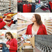 Collage from photos in a supermarket — Stock Photo