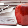 Stack of books and apple isolated — Stock Photo
