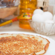 Plate with pancakes on a table — Stock Photo