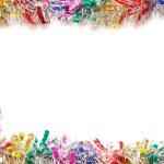 Christmas frame a colour tinsel — Stock Photo