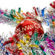 Christmas tinsel with red toy — Stok Fotoğraf #2587296