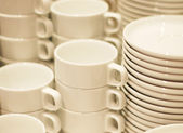Combined Coffee cups and saucers — Stock Photo