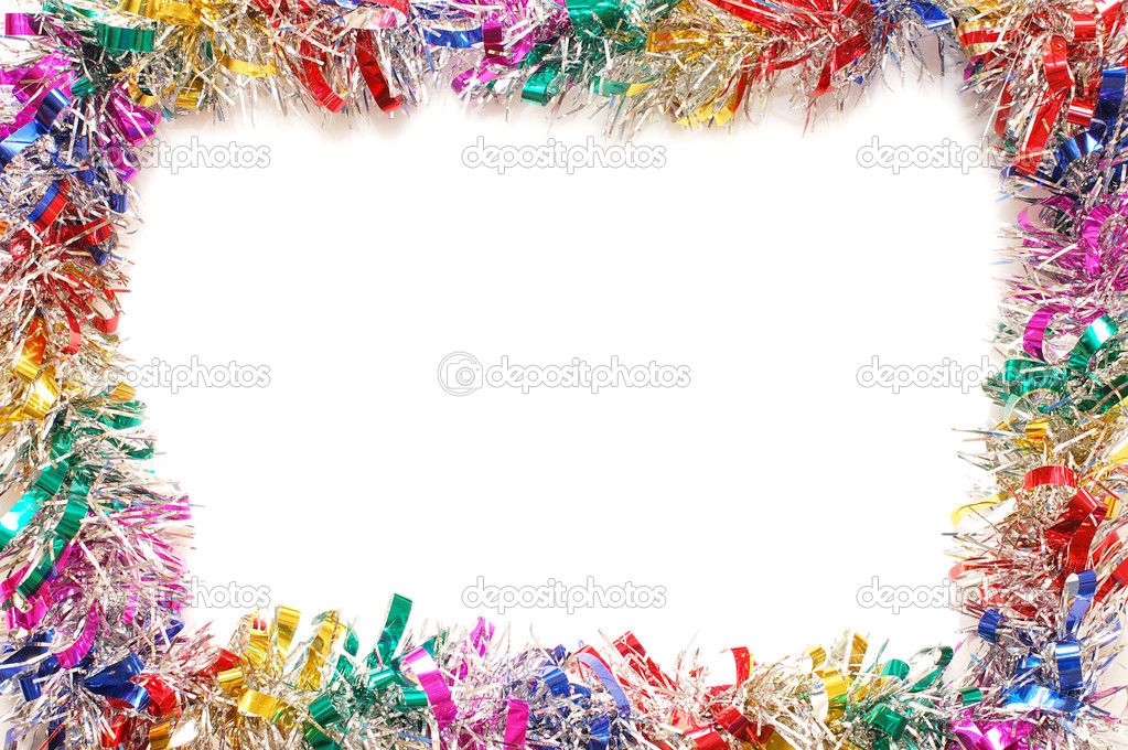 Christmas frame a colour tinsel  Foto de Stock   #2587045